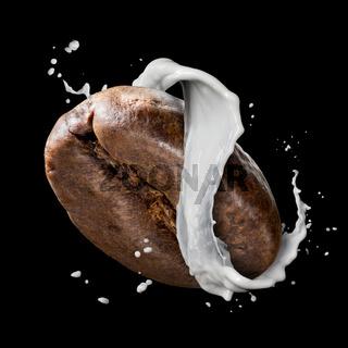 Coffee bean with milk splash isolated on black