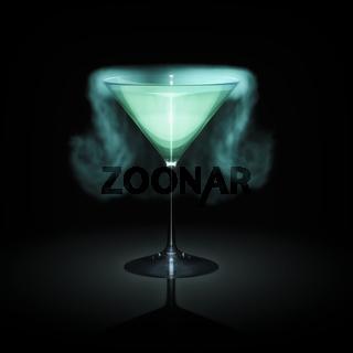 blue smoking cocktail glass