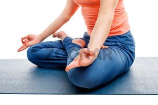 Close up of yoga asana Padmasana Lotus pose