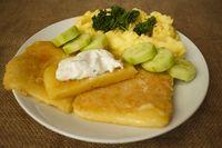 mashed potatoes fried cheese tartar sauce glance