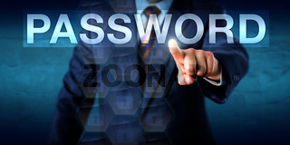 Executive Pressing A PASSWORD Text Box Onscreen