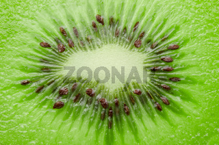 fresh juicy kiwi fruit slice closeup.
