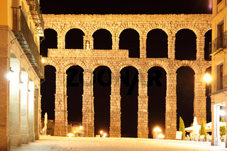 Aqueduct in Segovia at night