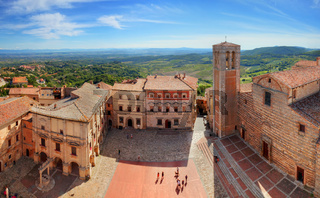 Montepulciano town panorama in Tuscany, Italy