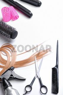 Composition with hairdressing accessories top view isolated
