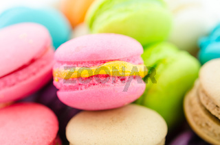 French colorful macarons.