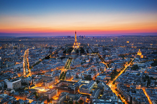 Paris, France at sunset. Aerial view on landmarks