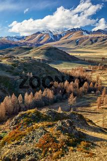 Altai mountains in Kurai area with North Chuisky Ridge on background