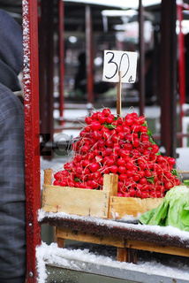 Heap of red radish on market