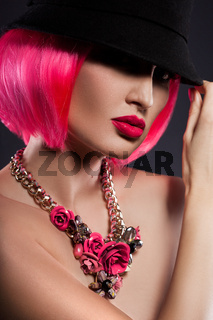 girl with pink hair and an decoration