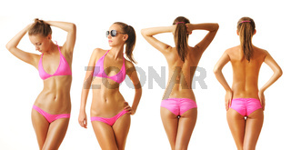 Sexy tan woman in bikini collection
