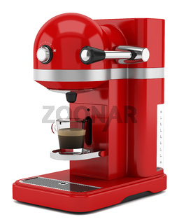red coffee machine isolated on white background