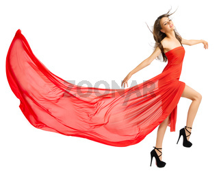 Young girl in long red cloth isolated (normal version)