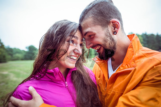 Happy couple on a hike