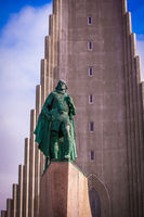 Hallgrimskirkja Church and statue of Leif Erikson