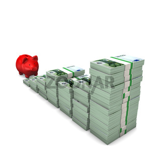 Red Piggy Bank Euro Notes