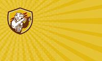 Business card California Grizzly Bear Smirking Claw Marks Crest Retro
