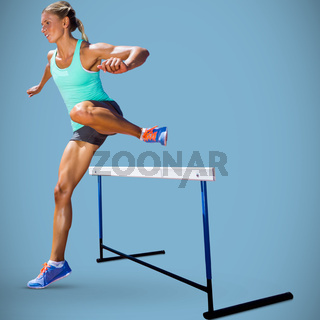 Composite image of sportswoman practising the hurdles