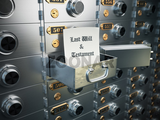 Last will and testament in the safe deposit box. Heritage concept.