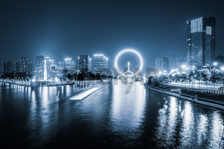 tianjin haihe river at night