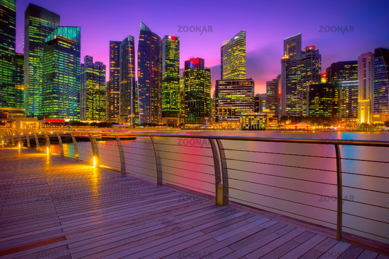Singapore marina at sunset