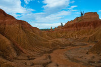 Drought valley red sandstone rock formation in hot dry desert of Tatacoa, Huila