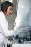 technician works in hospital laboratory
