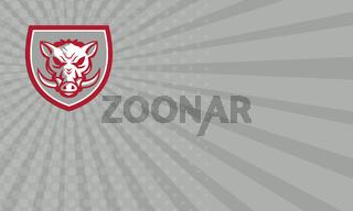 Business card Wild Boar Razorback Head Angry Shield Retro