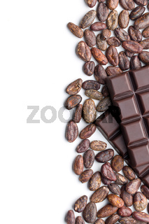 dark chocolate bars and cocoa beans