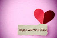 Happy Valentine's Day card with paper heart.