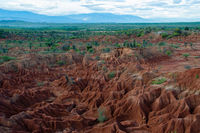 Overview Red sand stone formation of Tatacoa desert in Huila,