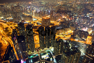 Cityscape of Hong Kong at night