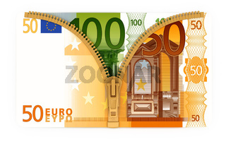 Illustration of the euro currency with zip fastening bill