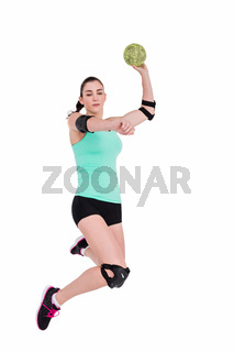 Female athlete with elbow pad throwing handball