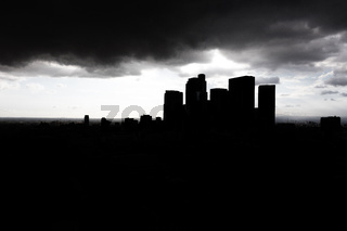 Dark silhouette city skyscrapers