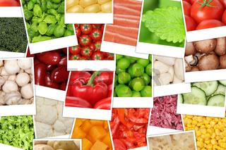 Hintergrund aus Gemüse wie Tomaten, Paprika, Salat, Kartoffeln