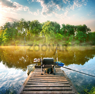 Fishing on pond