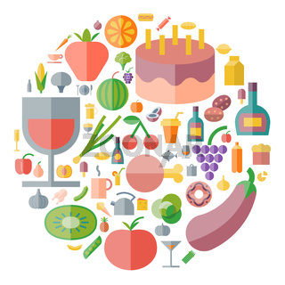 Icons for food and drink arranged in circle