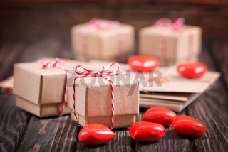 box for present and hearts