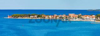 Puntamiika peninsula of Zadar aerial panorama