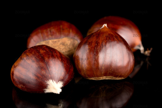 Chestnuts on a black reflective background