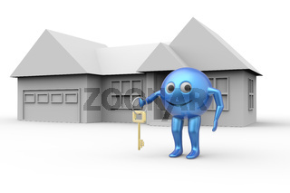 House and 3d ball shape smiley symbol with key