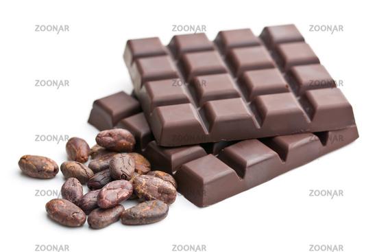 dark chocolate bars and cocoa beans