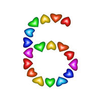 Number 6 made of multicolored hearts on white background