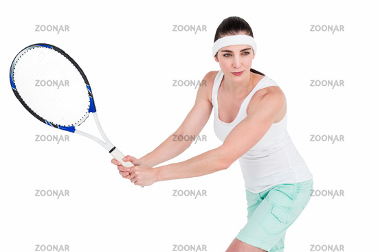 Female athlete playing tennis
