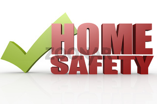 Green check mark with home safety word