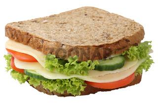Sandwich Toast zum Frühstück belegt mit Käse Freisteller