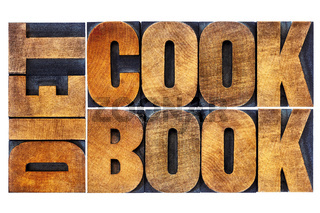 diet cookbook word abstract in wood type