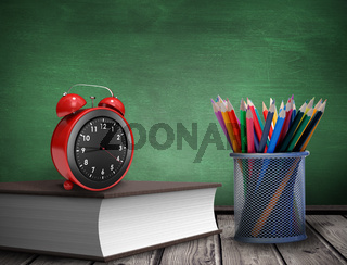 Composite image of school supplies
