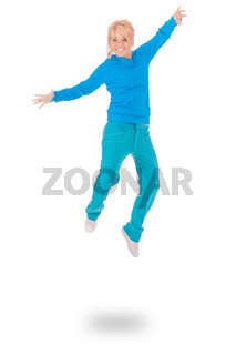 young woman in blue dress jumping